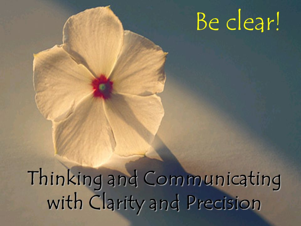 Thinking and Communicating with Clarity and Precision
