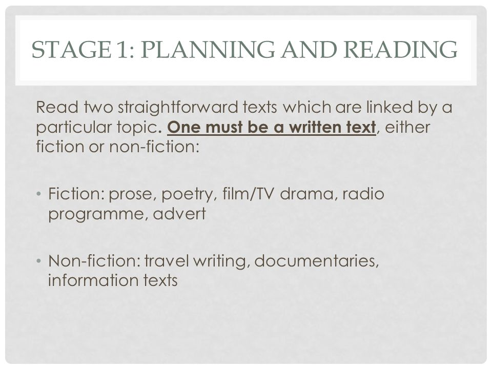 Stage 1: planning and reading