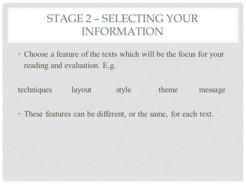 Stage 2 – selecting your information