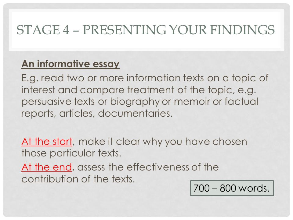 Stage 4 – presenting your findings
