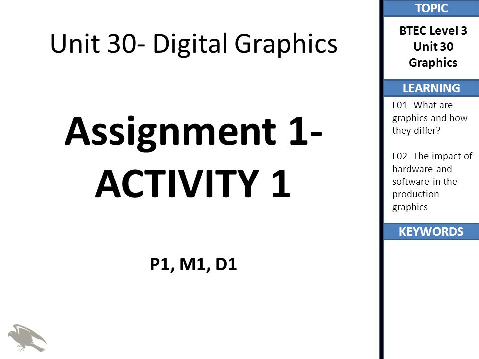 Unit 30- Digital Graphics Assignment 1- ACTIVITY 1 P1, M1, D1