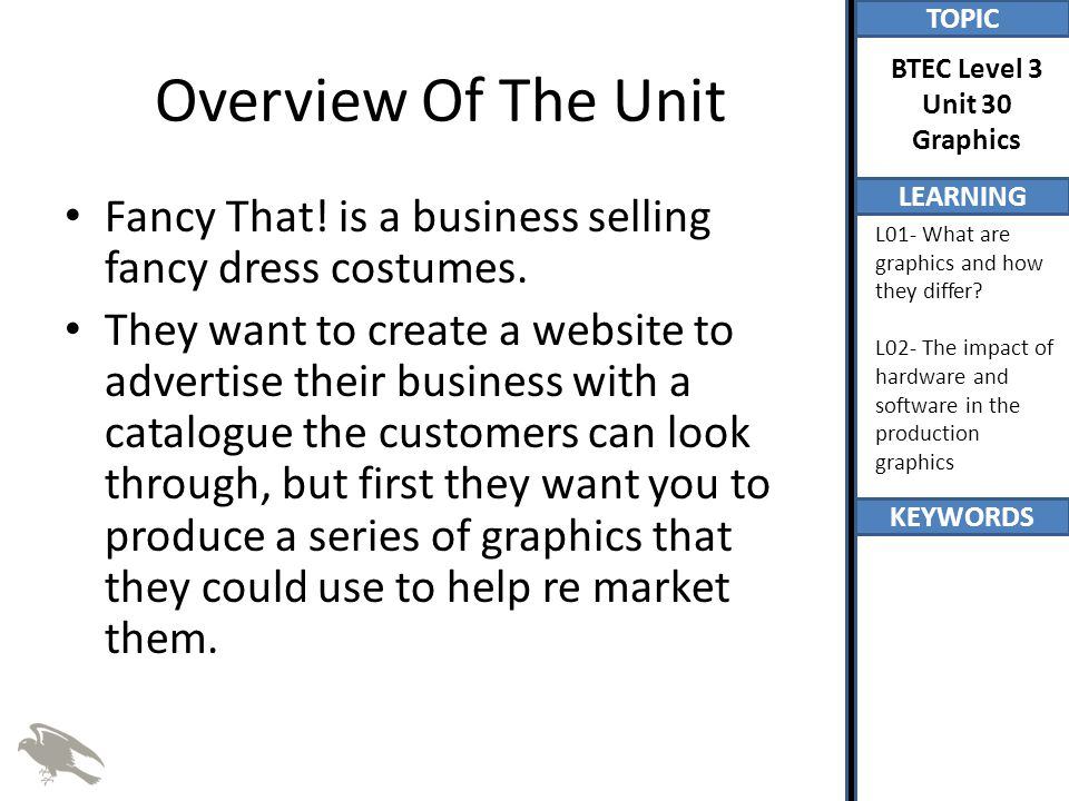 Overview Of The Unit Fancy That! is a business selling fancy dress costumes.