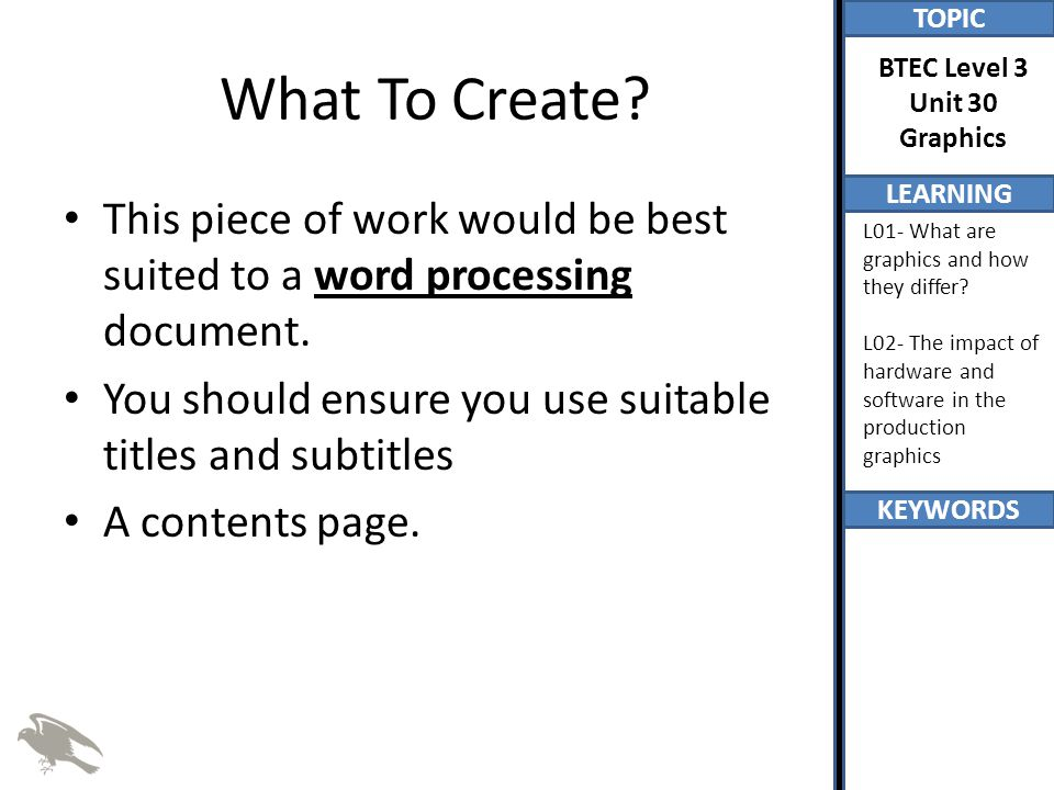 What To Create This piece of work would be best suited to a word processing document. You should ensure you use suitable titles and subtitles.