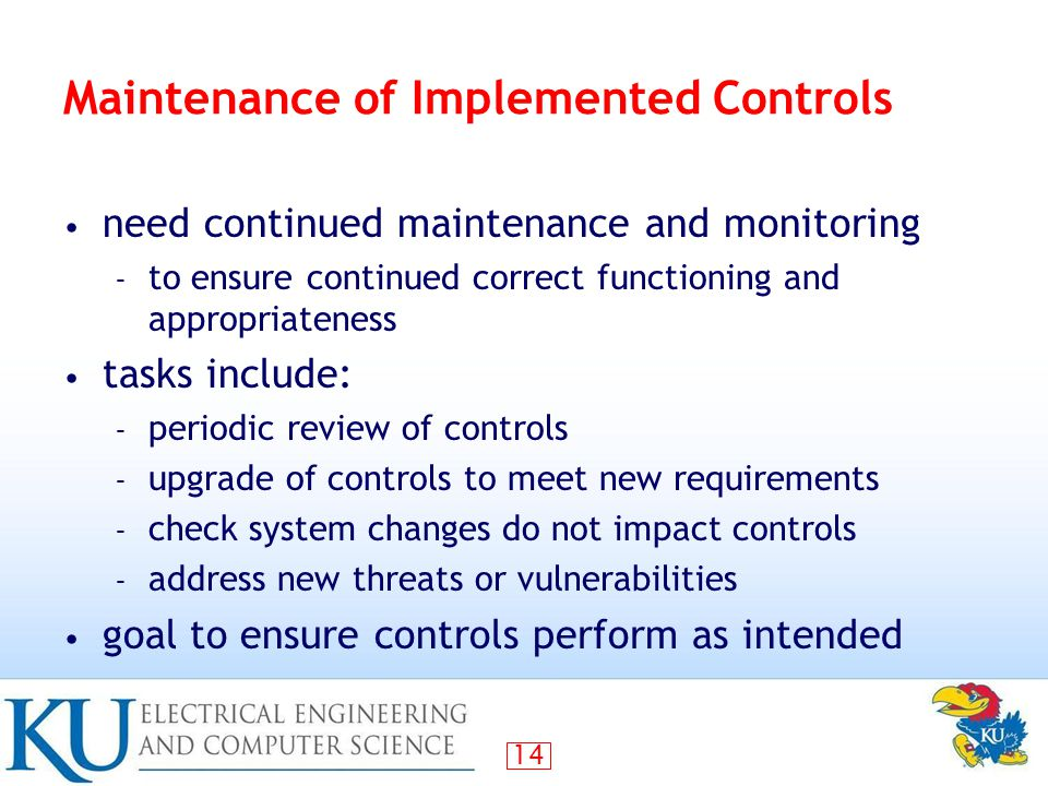 Maintenance of Implemented Controls