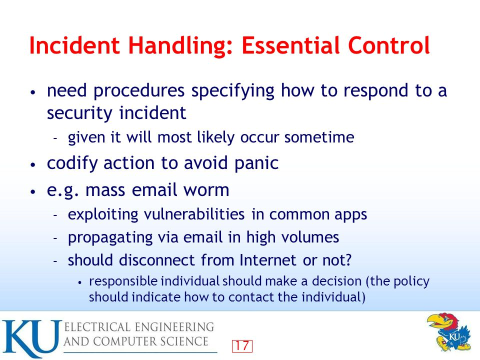 Incident Handling: Essential Control
