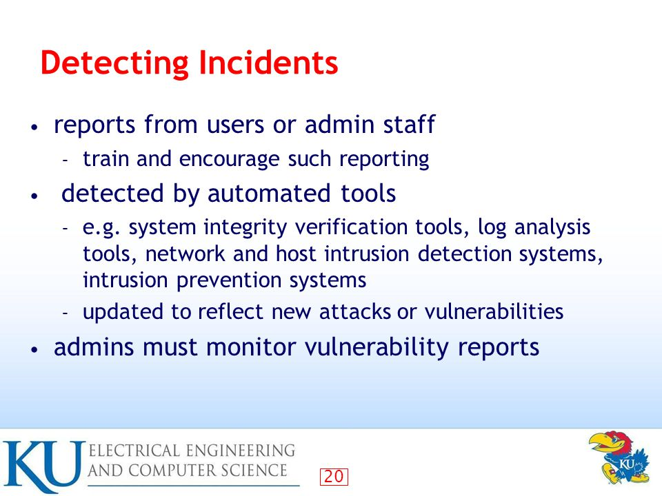 Detecting Incidents reports from users or admin staff