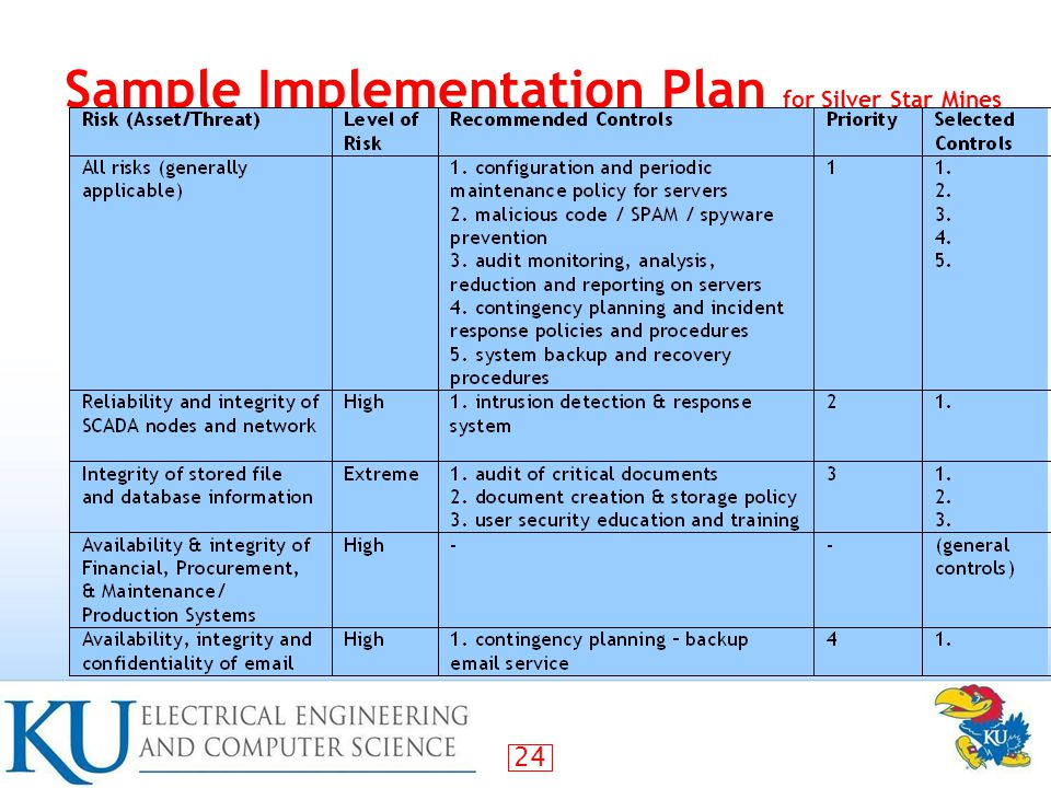 Sample Implementation Plan for Silver Star Mines