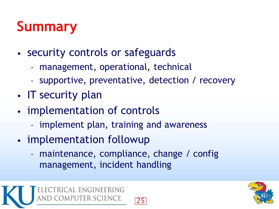 Summary security controls or safeguards IT security plan