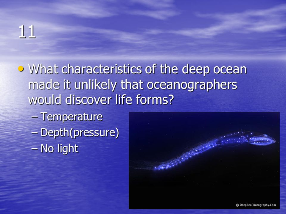 11 What characteristics of the deep ocean made it unlikely that oceanographers would discover life forms