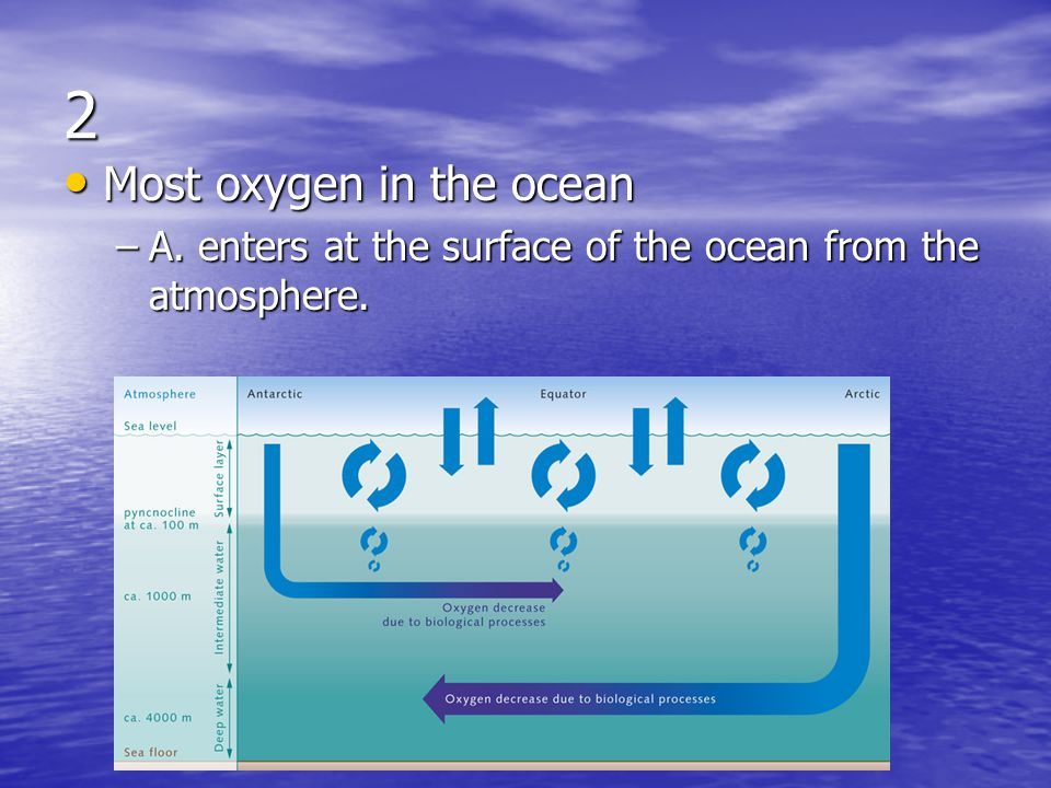 2 Most oxygen in the ocean