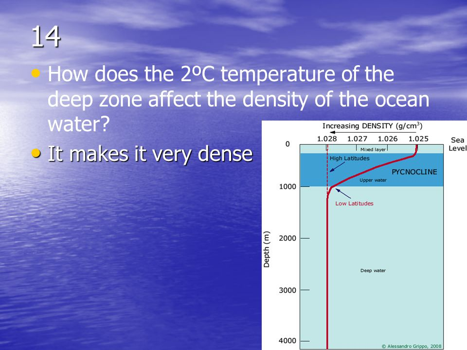 14 How does the 2ºC temperature of the deep zone affect the density of the ocean water.