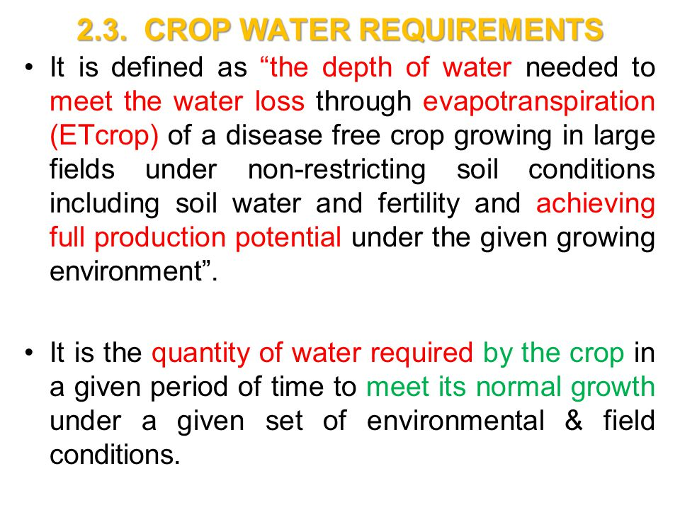 Crop water requirements ppt video online download.