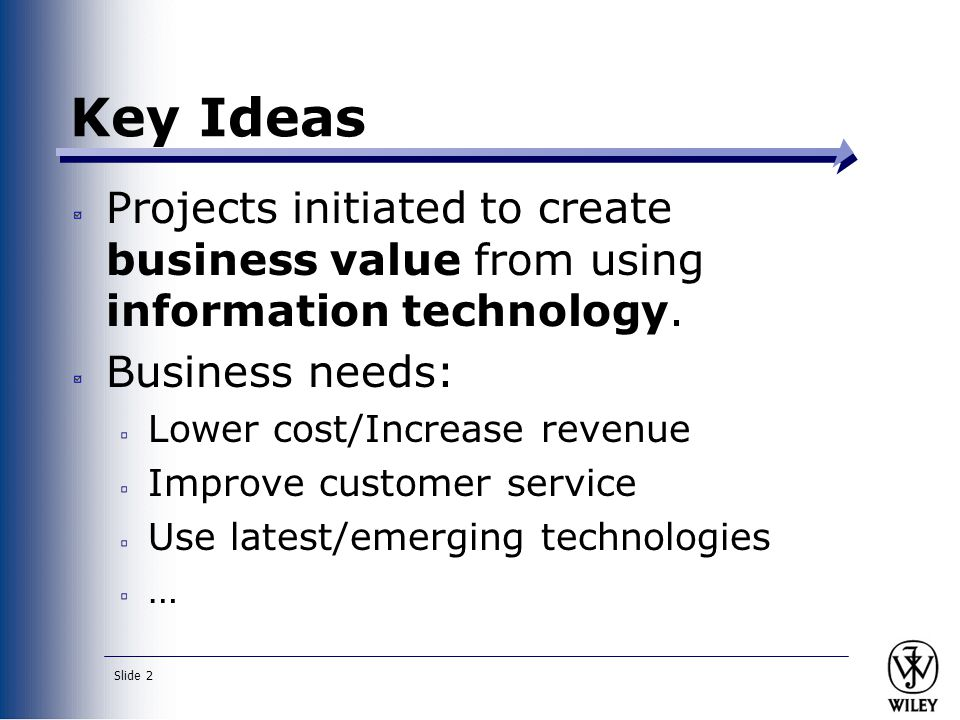 Key Ideas Projects initiated to create business value from using information technology. Business needs: