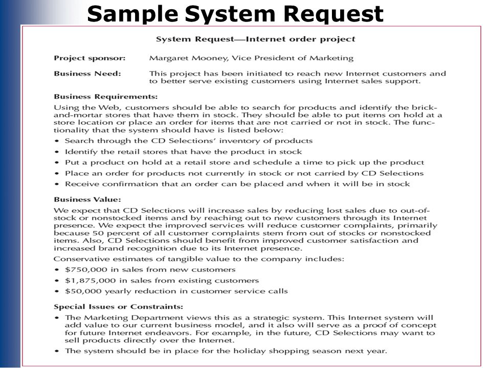 Sample System Request