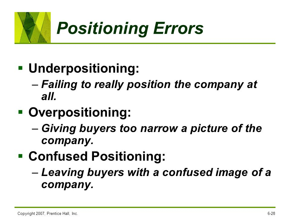 Positioning Errors Underpositioning: Overpositioning: