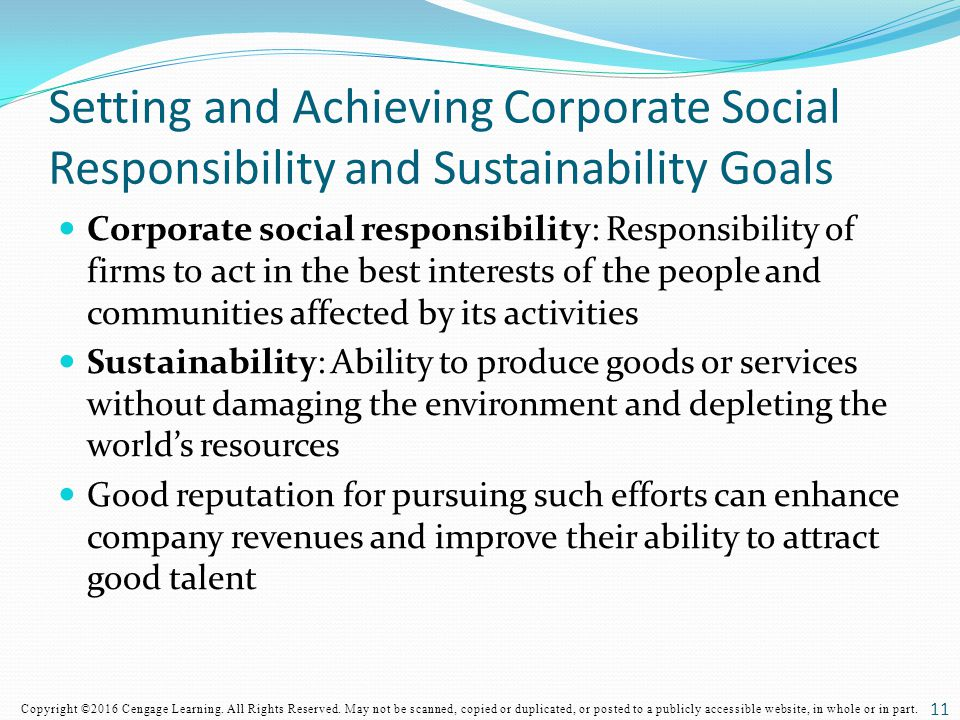 Setting and Achieving Corporate Social Responsibility and Sustainability Goals
