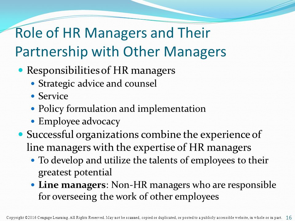 Role of HR Managers and Their Partnership with Other Managers