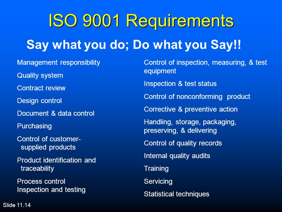 ISO 9001 Requirements Say what you do; Do what you Say!!