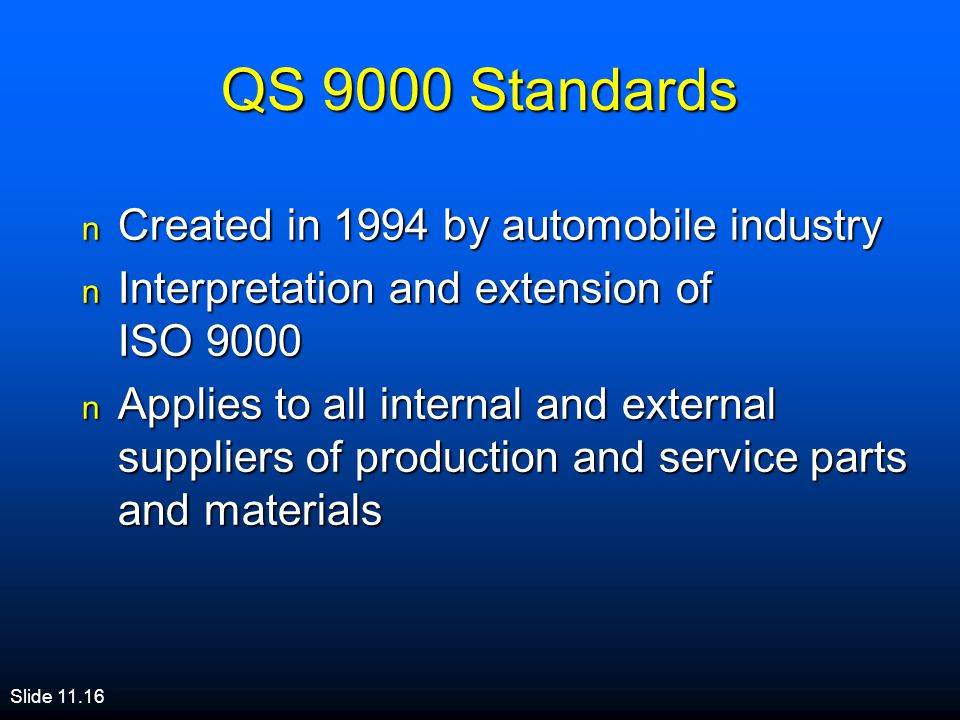 QS 9000 Standards Created in 1994 by automobile industry