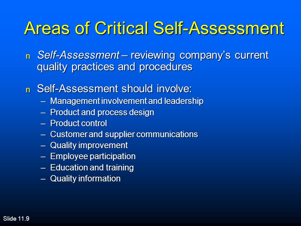 Areas of Critical Self-Assessment