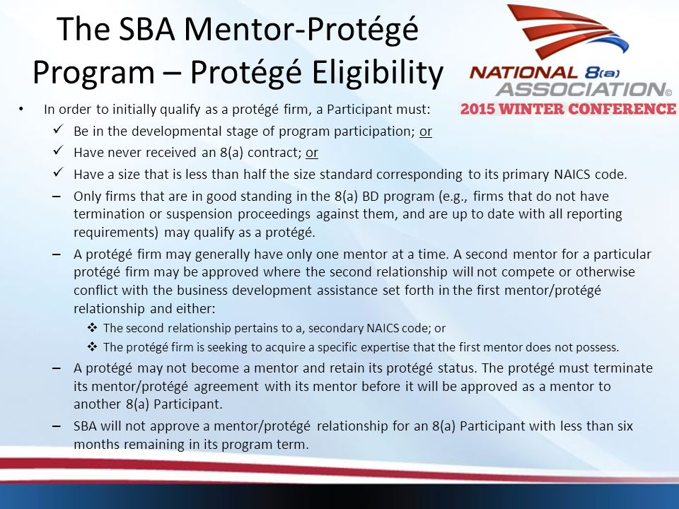 The SBA Mentor-Protégé Program – Protégé Eligibility