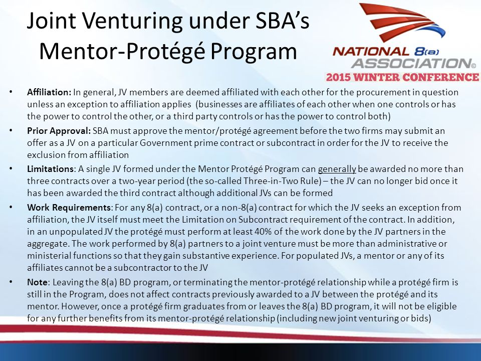 Joint Venturing under SBA's Mentor-Protégé Program