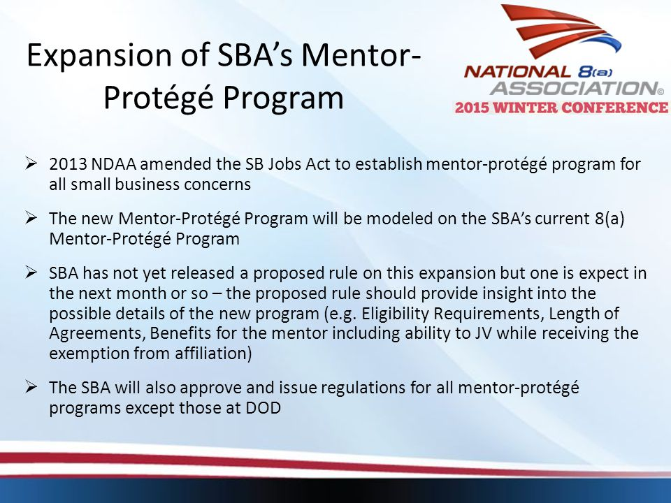 Expansion of SBA's Mentor-Protégé Program