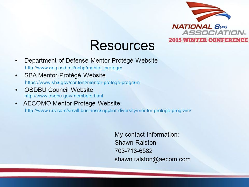 Resources Department of Defense Mentor-Protégé Website