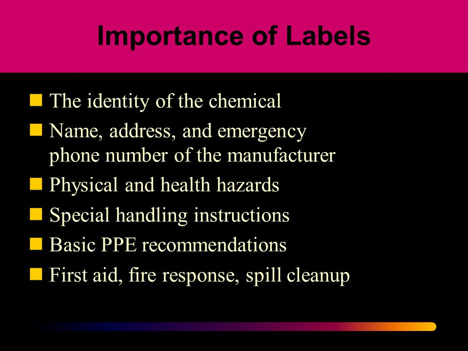 Importance of Labels The identity of the chemical