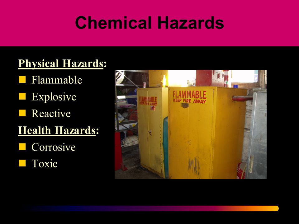 Chemical Hazards Physical Hazards: Flammable Explosive Reactive