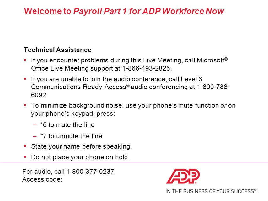 Payroll Part 1 for ADP Workforce Now® - ppt download