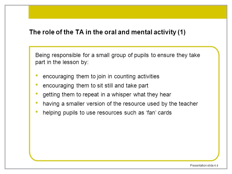 The role of the TA in the oral and mental activity (1)