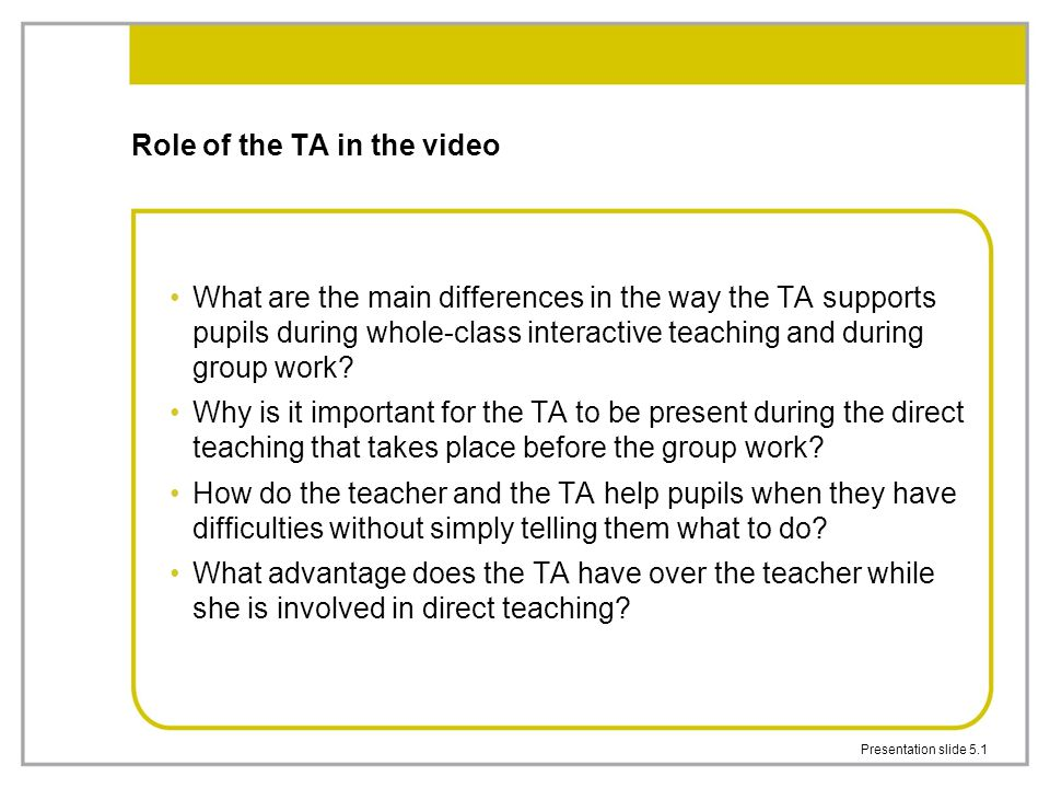 Role of the TA in the video