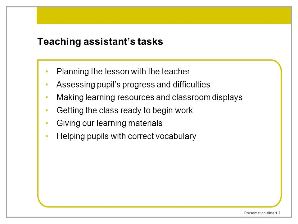 Teaching assistant's tasks