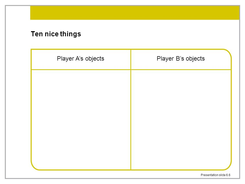 Ten nice things Player A's objects Player B's objects