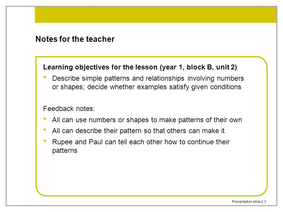 Notes for the teacher Learning objectives for the lesson (year 1, block B, unit 2)