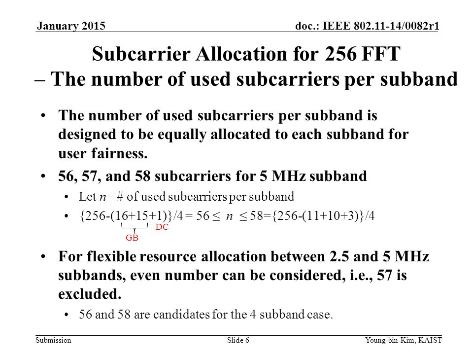 January 2015 doc.: IEEE yy/0082r1. January Subcarrier Allocation for 256 FFT – The number of used subcarriers per subband.