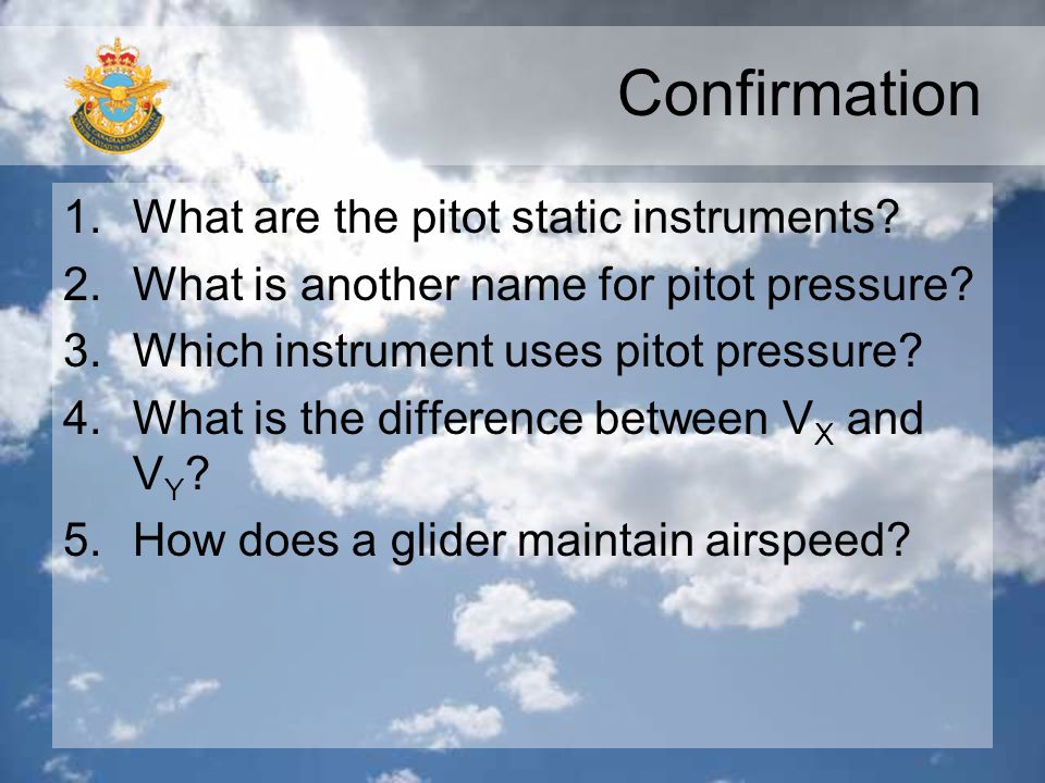Confirmation What are the pitot static instruments