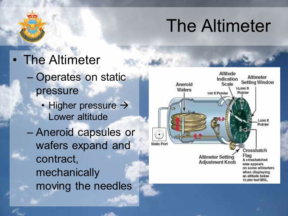 The Altimeter The Altimeter Operates on static pressure