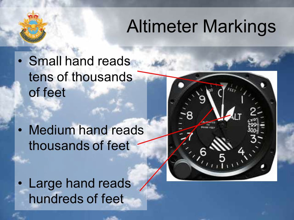 Altimeter Markings Small hand reads tens of thousands of feet