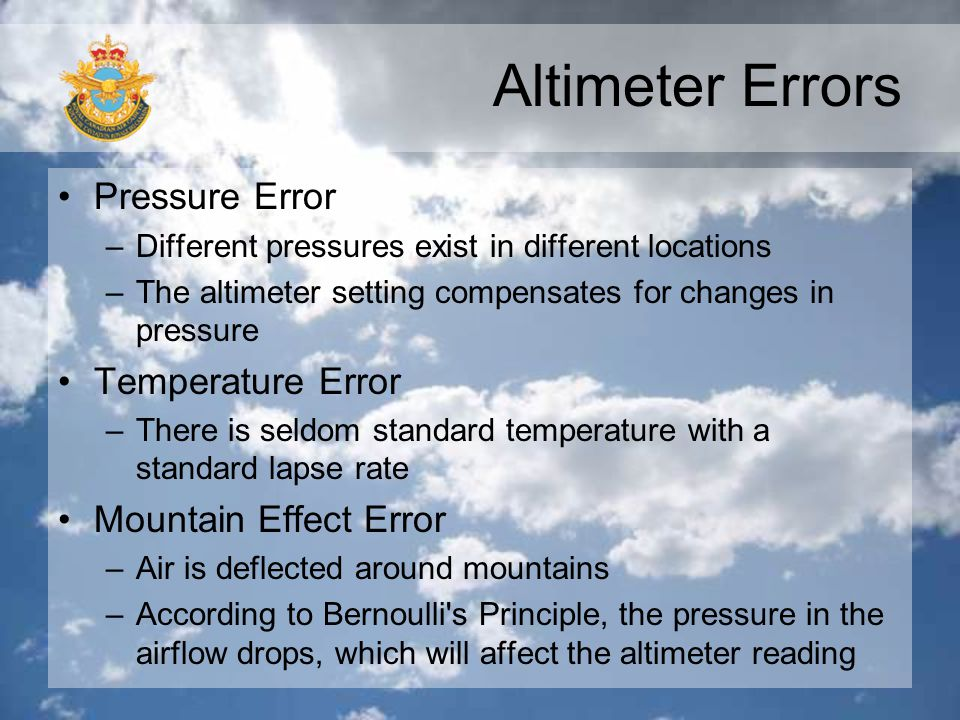 Altimeter Errors Pressure Error Temperature Error
