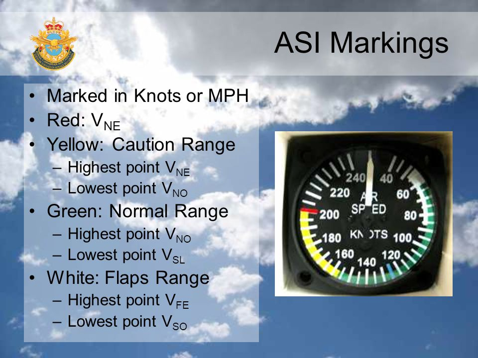 ASI Markings Marked in Knots or MPH Red: VNE Yellow: Caution Range