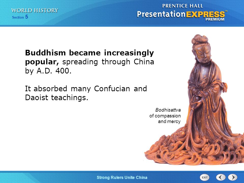 It absorbed many Confucian and Daoist teachings.