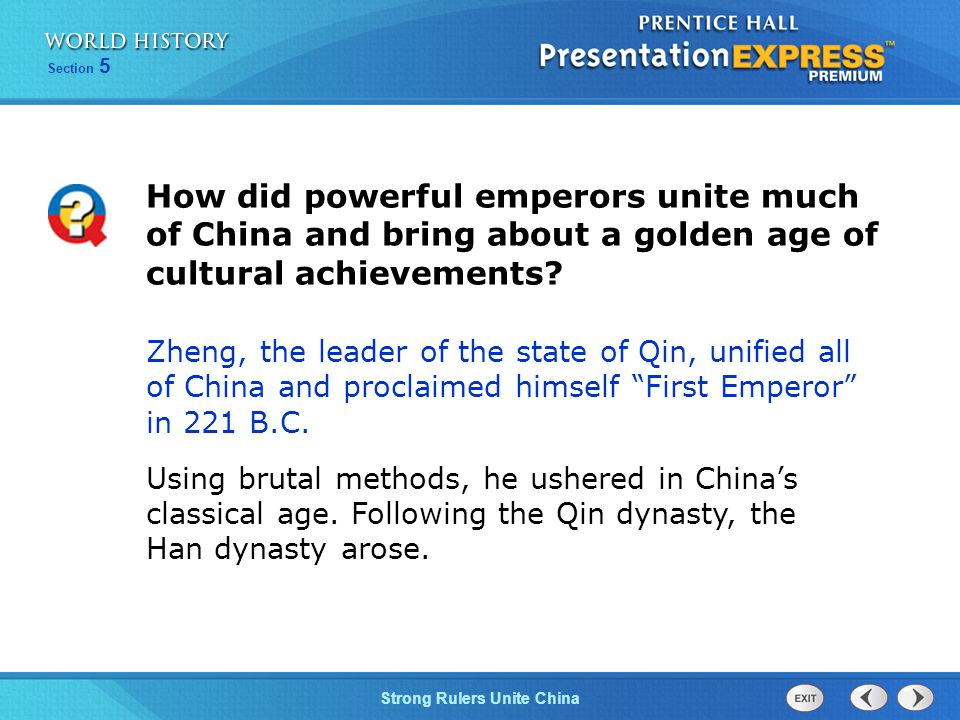 How did powerful emperors unite much of China and bring about a golden age of cultural achievements