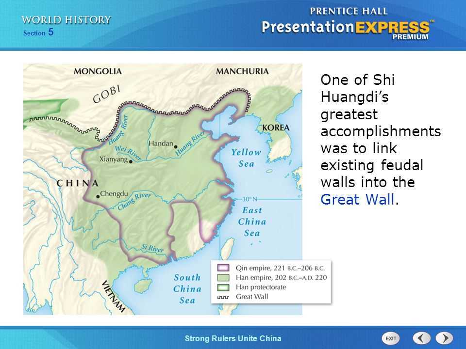 One of Shi Huangdi's greatest accomplishments was to link existing feudal walls into the Great Wall.