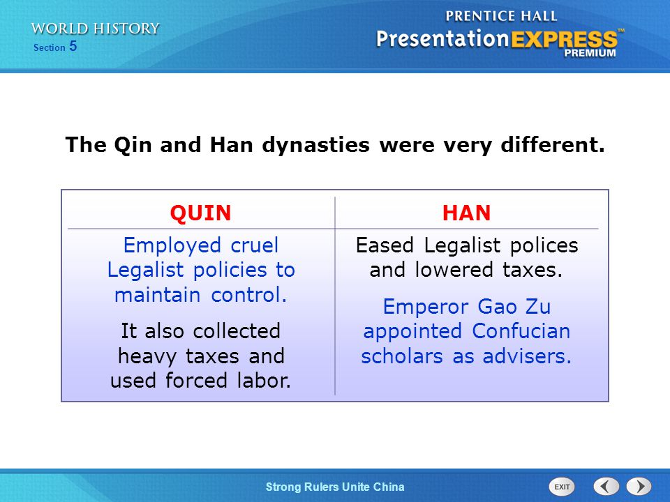 The Qin and Han dynasties were very different.