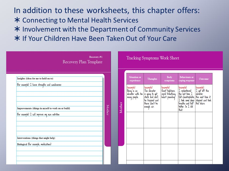 38 In Addition To These Worksheets This Chapter Offers Connecting Mental Health Services Involvement With The Department Of Munity: Mental Health Recovery Worksheets At Alzheimers-prions.com