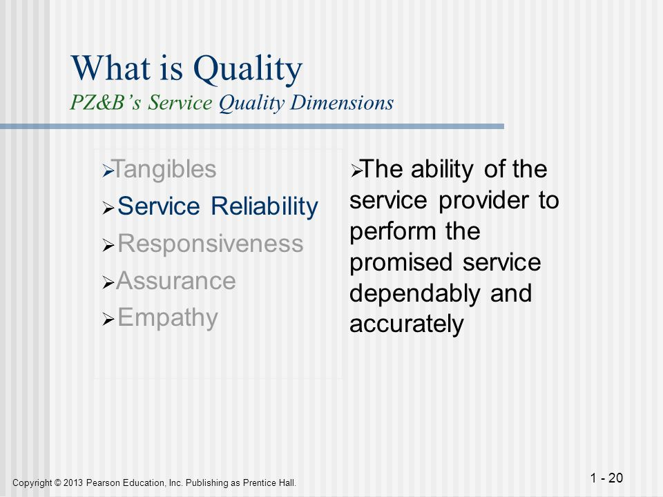 What is Quality PZ&B's Service Quality Dimensions
