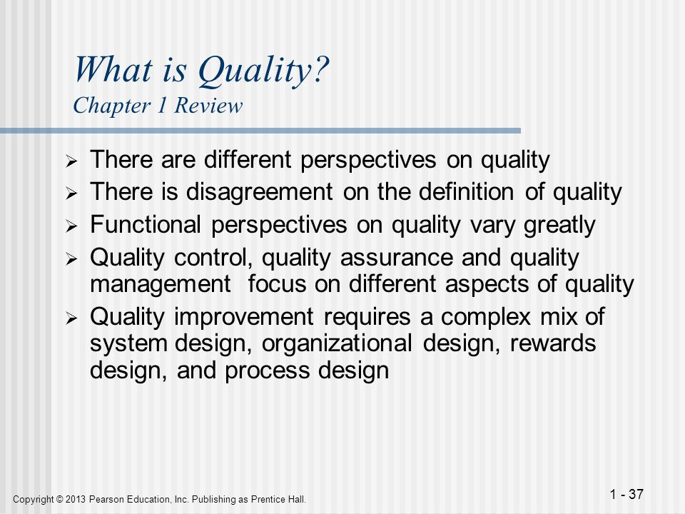 What is Quality Chapter 1 Review