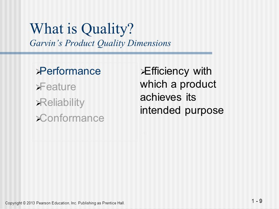 What is Quality Garvin's Product Quality Dimensions